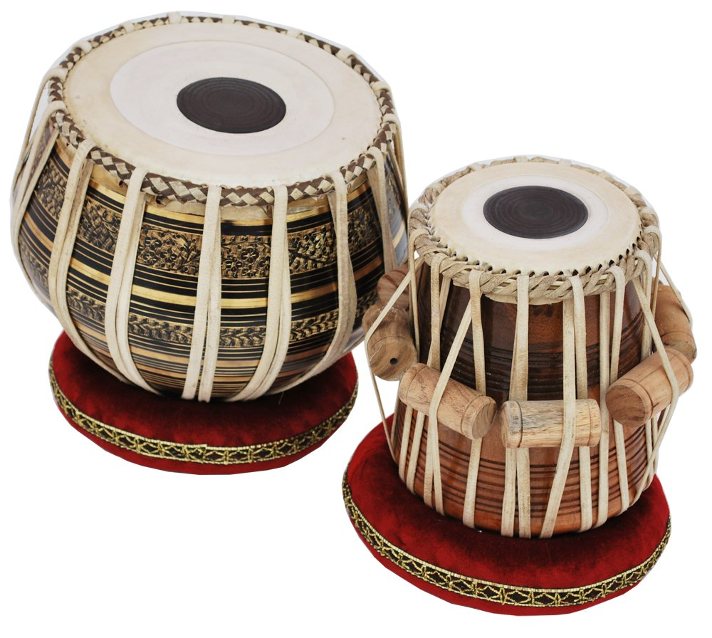 Tabla Drum Set, 2.5 Kg Black Painted Designer Brass Bayan, Beautiful Look, Sheesham Wood Dayan, Hand Made Drum Skin, Camel Leather Strap to Tune, Comes with Tuning Hammer, Gig Bag, Cushion & Cover by Kaayna Musicals (Image #4)