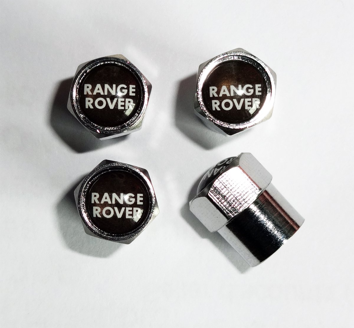 Range Rover Chrome Wheel Valve Dust Caps.Sport Vogue HSE Evoque Protrex UK ®