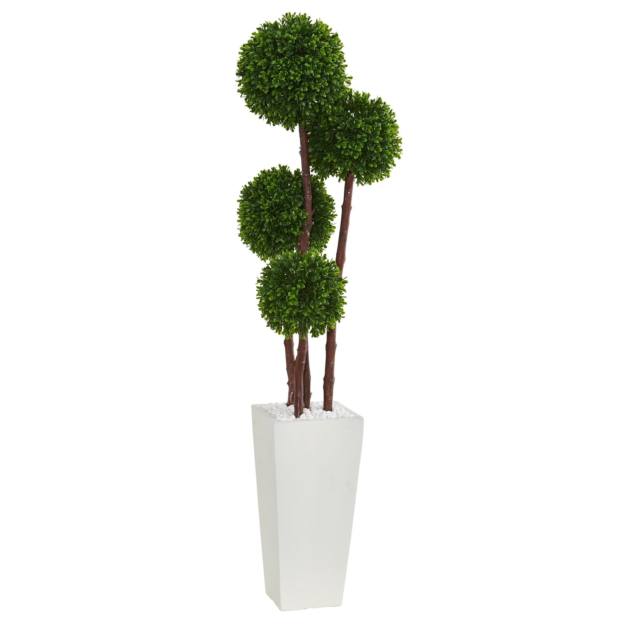 Nearly Natural 4' Boxwood Artificial Topiary Tree in Planter UV Resistant (Indoor/Outdoor) 4, Green