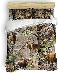 GreaBen 4 Pieces Duvet Cover Set Comfort Bed Sheet Set for Girls Boys,Cute Animal Bear Deer Pattern Bedding Sets for Women Men,Include 1 Duvet Cover + 1 Bed Sheets + 2 Pillow Case Twin Size