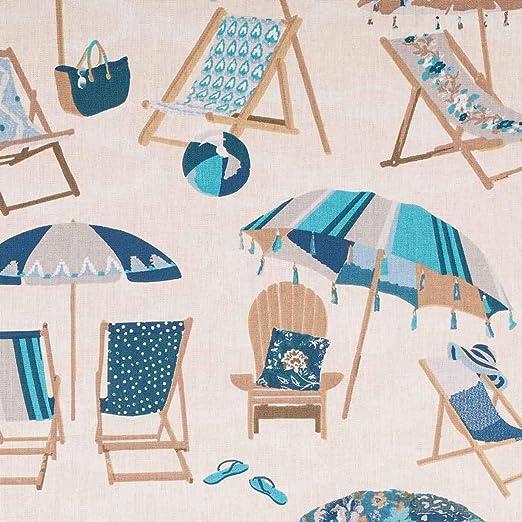 CAREFIL Tejido algodón Playa, Tumbona y sombrilla – Azul – Oeko-Tex ®: Amazon.es: Hogar
