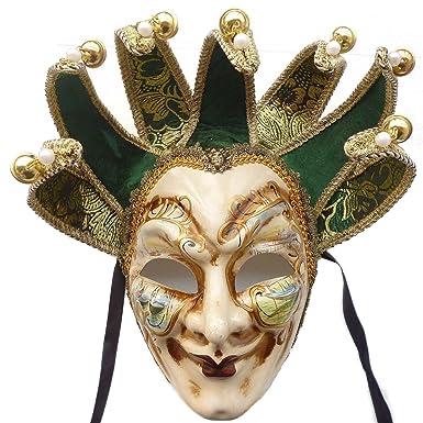 Amazon.com: Green Full Face Venetian Jester Mask Masquerade Mardi ...