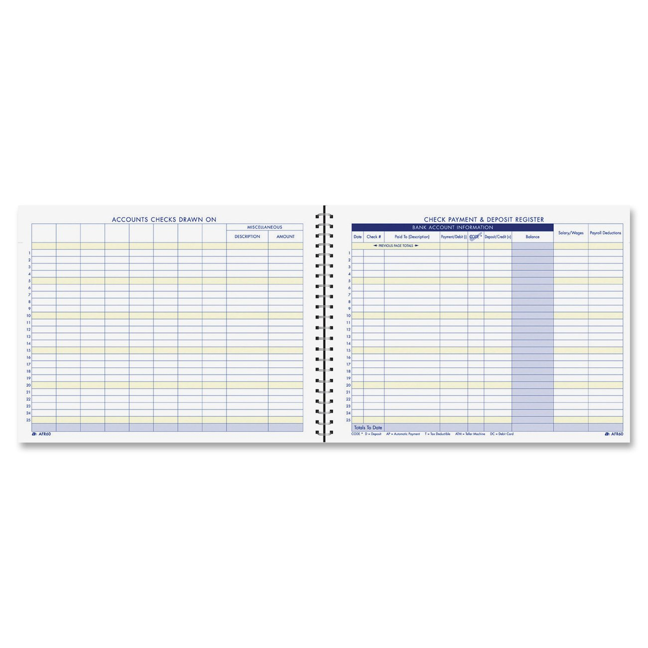 Amazon : Adams Check Payment And Deposit Register, 85 X 11 Inches,  White (afr60) : Large Check Register : Office Products