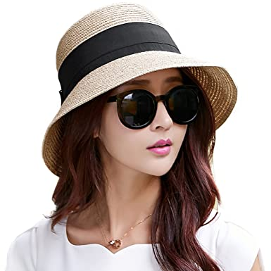 b1d120e6654 Siggi Floppy Summer Sun Beach Straw Fedoras Hats Wide Brim for Women Beige  Small