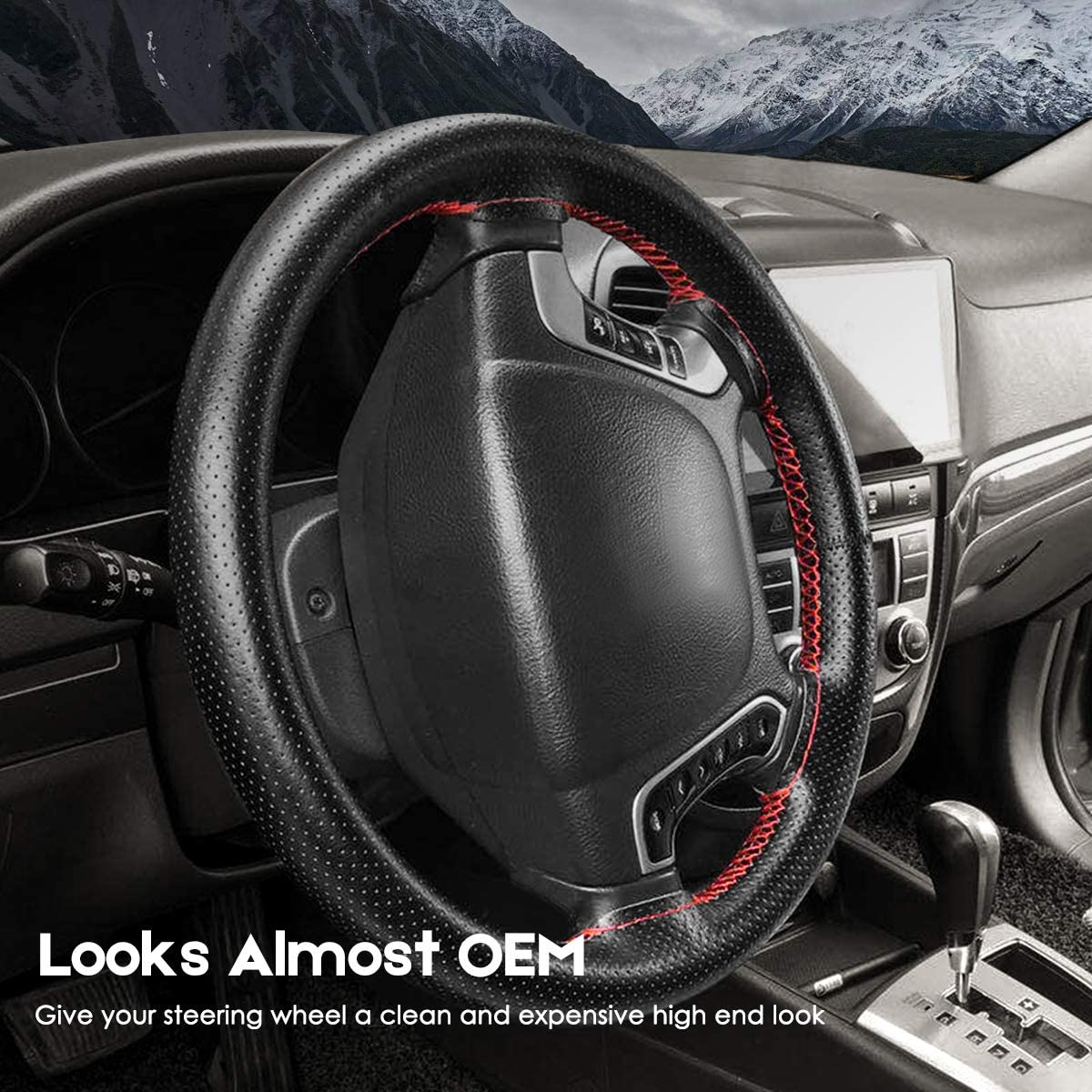 BELINOUS Universal Leather Car Steering Wheel Cover Stitch On Wrap Size L4, Black and Red