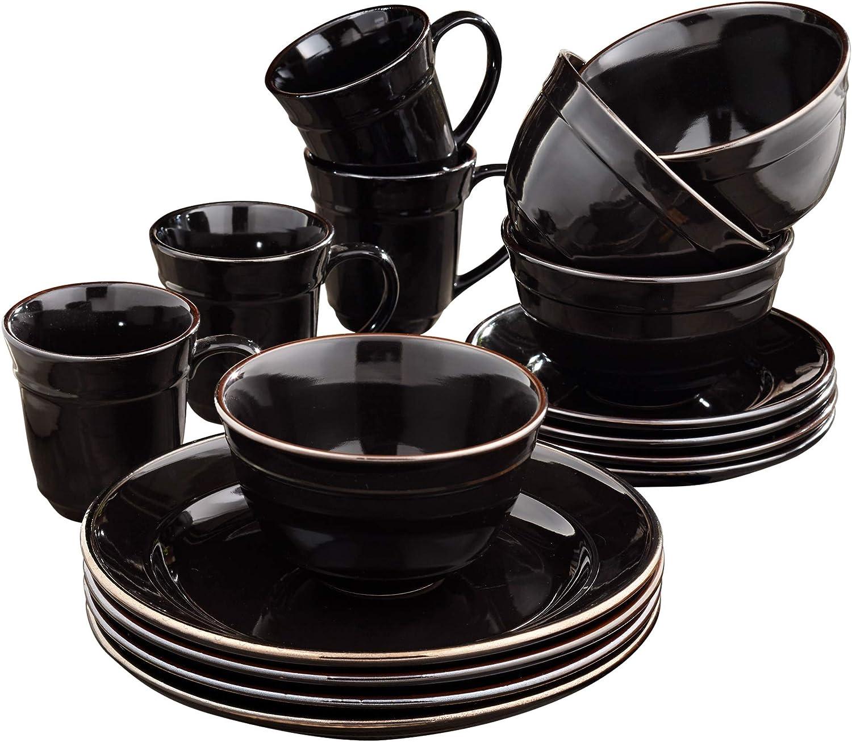 "Elle Décor Lucienne Casual Round Dinnerware Set – 16-Piece Stoneware Party Collection w/ 4 Dinner Salad Plates, 4 Bowls & 4 Mugs-Unique Gift Idea, 10.75"", Black"