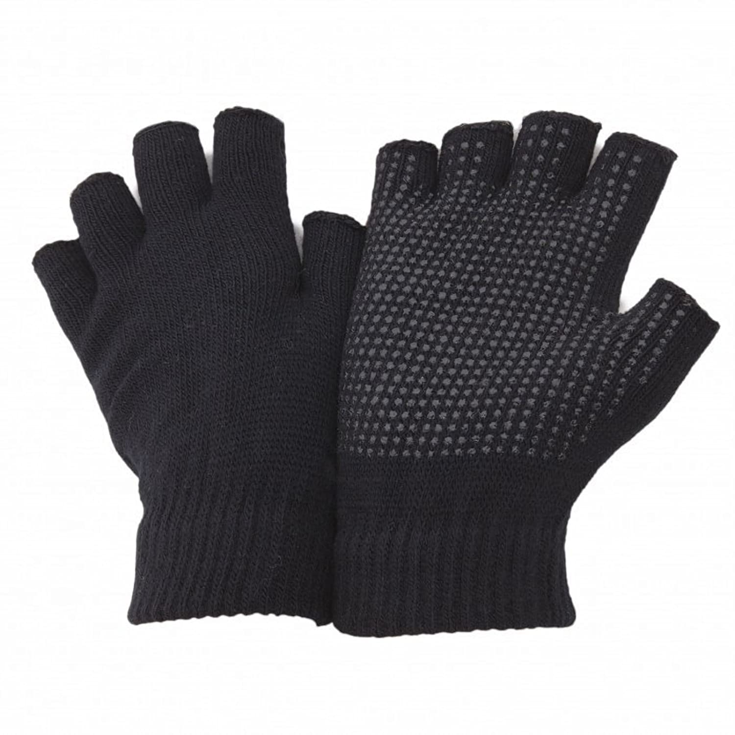 Fingerless gloves for gaming - Floso Unisex Fingerless Magic Gloves With Grip One Size Fits All Black At Amazon Men S Clothing Store Cold Weather Gloves