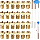 24 Pieces Extruder Nozzles M6 3D Printer Brass Nozzles Print Heads with 10Pcs Nozzle Cleaning Kits for 3D Printer…