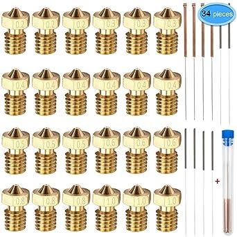 M6 3D Printer Brass Nozzles for 1.75mm Filament E3D V5-V6 3D Printer 30PCS M6 nozzles,V6 Extruder Nozzles
