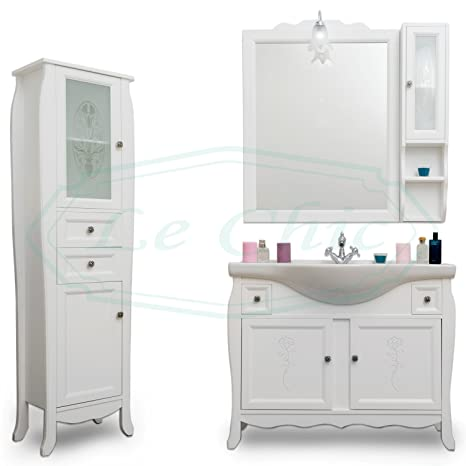 Arredo bagno in legno bianco stile shabby chic intagliato specchiera ...