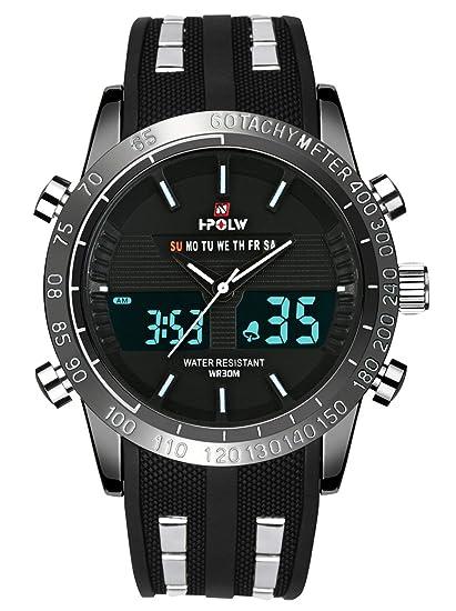 Relojes Deportivos analógicos Digitales para Hombre, Impermeables, electrónicos, LED, Calendario Militar,