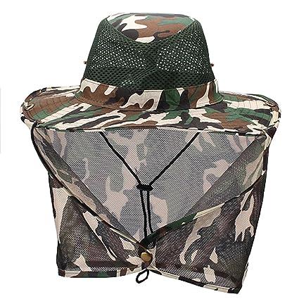 8c841bf0655 Luwint Mesh Neck Flap Sun Hat - Head Net Cover Bucket Cap for Outdoors  Fishing Gardening
