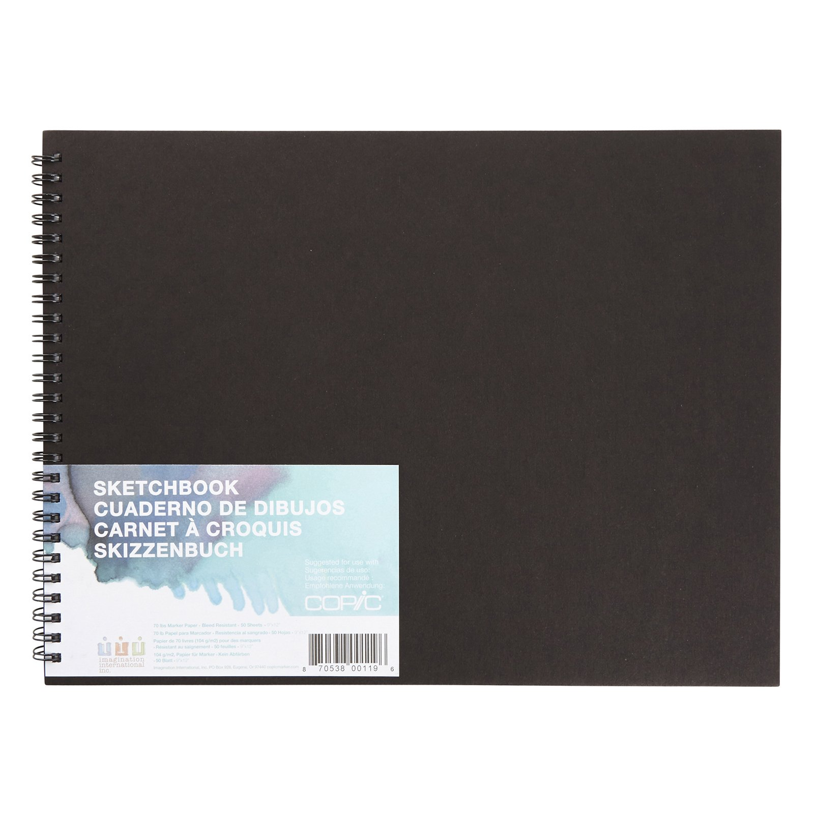 Copic Markers SKBK9X12 Sketch Book - 9'' X 12'' - 50 Sheets - Wire Bound