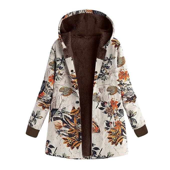 Linlink Chaqueta cálida de Mujeres Invierno con Estampado Caliente Outwear impresión Floral Bolsillos con Capucha Vintage Abrigos de Gran tamaño: Amazon.es: ...