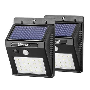 ledowp 20 LED Solar con Sensor de movimiento luz de seguridad, inteligente inalámbrica 3 modos