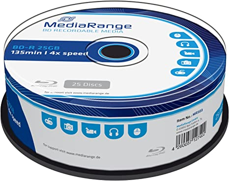 MediaRange MR503 25GB BD-R 25pieza(s) Disco BLU-Ray Lectura/Escritura (BD) - BD-RE vírgenes (BD-R, 25 GB, 4X, Caja para Pastel, 25 Pieza(s)): Amazon.es: Informática