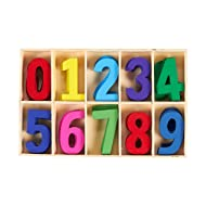 50-Piece Wooden Numbers - Craft Numbers with Storage Tray | Kids Learning Toy, Assorted Colors