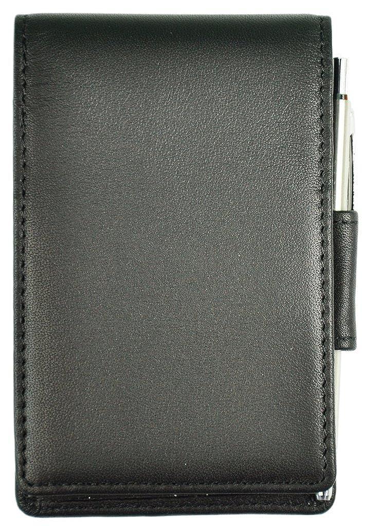 Royce Journalist-Style Leather Flip Notepad Black Royce Leather 700-5BLACK