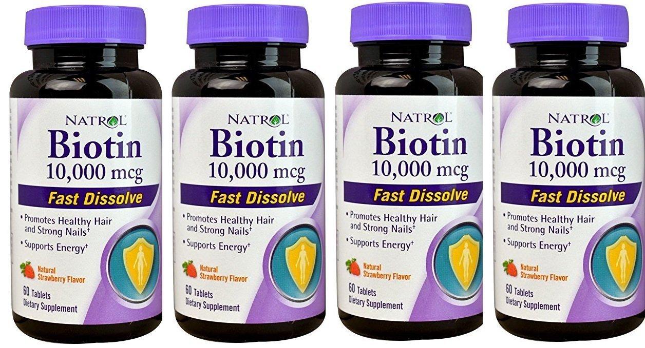 Biotin 10,000mcg Fast Dissolve, 60 Count (Pack of 4)