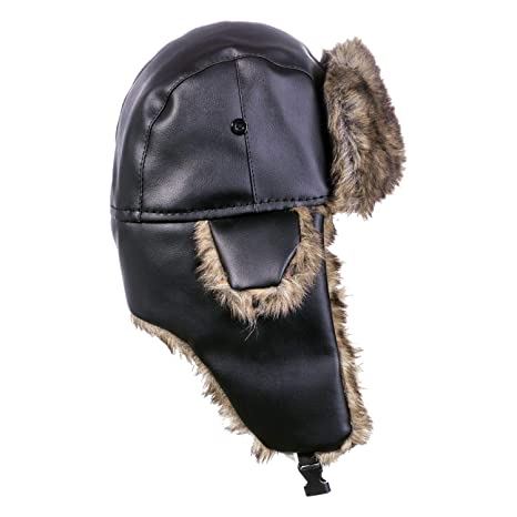 6d98be5b88a DYAPP Men s Warm Ski Trapper Hat Ear Flaps Outdoors PU Trooper Hunting Hats