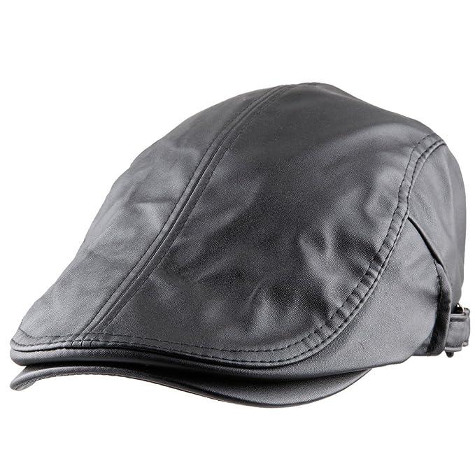 fdb1c9858c126 Shanxing Men s Flat Cap PU Leather Peaked Newsboy Beret Hat Adjustable