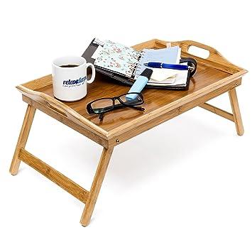 relaxdays tablette de lit pliable plateau petit djeuner au lit pliant en bambou laqu bois h - Table De Lit