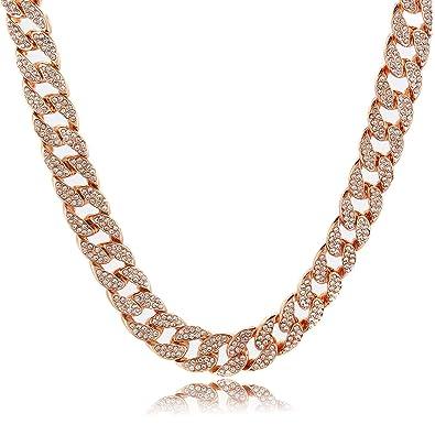 2059933e7364d Shiny Jewelers USA Mens Iced Out Hip Hop Rose Gold CZ Miami Cuban Link  Chain 8