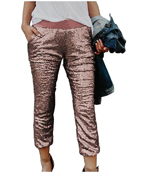e12ccef847c DressU Womens Plus Size Chic Sequin Leggings Trend Casual Pants at Amazon  Women s Clothing store