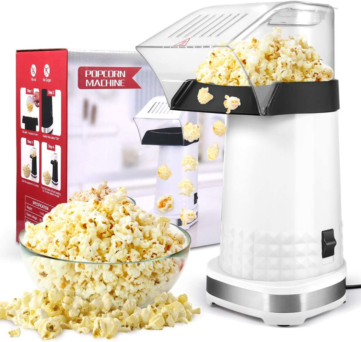 BurstEay Popcorn Machine,1200W Electric Popcorn Maker with Measuring Cup, BPA Free, Low Fat No Oil Needed Fast Hot Air Popcorn Machine for Home, Family, Party (White)
