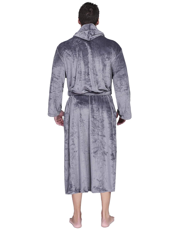 Amazon.com  Aibrou Mens Robes Big and Tall Plush Long Hood Fleece Bathrobe   Clothing a5b4e24f8
