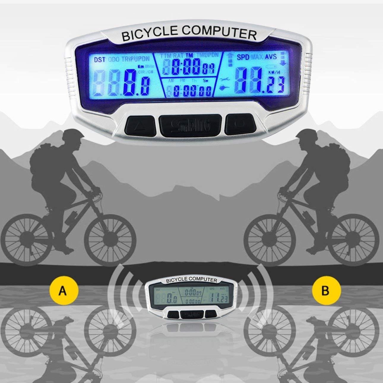 Ballylelly ABS Pantalla LCD con Cable Pantalla de la Bicicleta Ciclismo Cuentakilómetros Velocímetro Cronómetro Velometer SD-558A