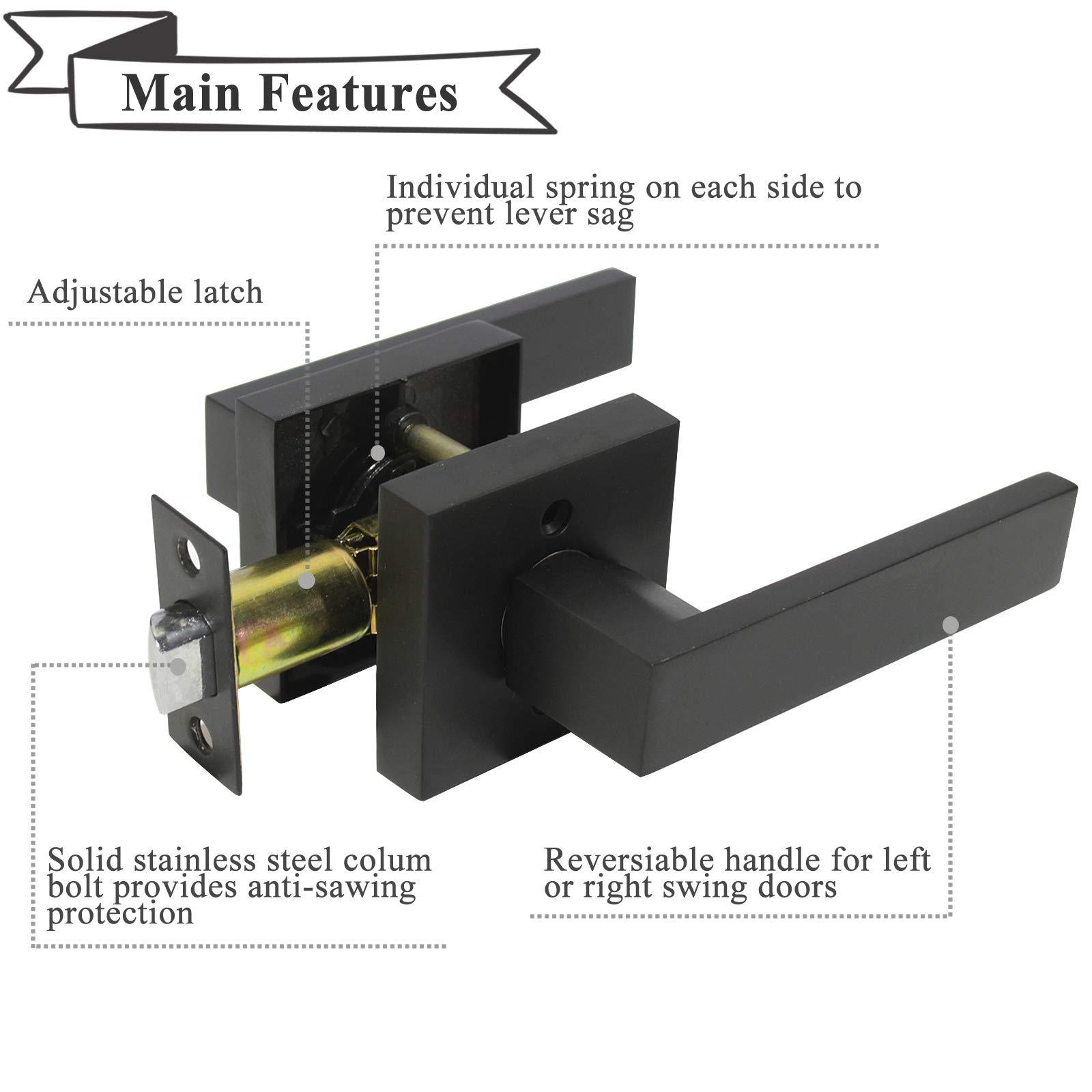 Passage Door Lever Handle Interior Non-Locking Lever Set for Hallway Doors or Closets with Black Finish, Reversible for Right & Left Side,10 Pack by Home Improvement Direct (Image #4)