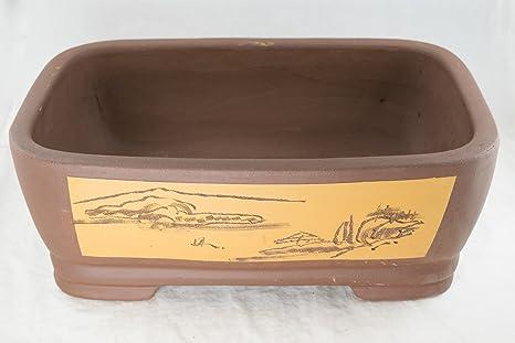 """zisha clay bonsai pot Etched Rectangular Yixing Zisha Bonsai Pot 2.2""""x 2.22""""x 2.2"""" with Mesh -  Round Corners"""