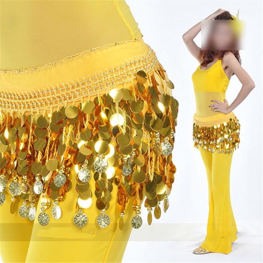 Women's Dancewear Belly Dancing Skirts Belt Hip Wrap Waist Chain Belts Waistband Yellow