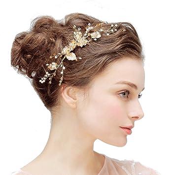 Hopewey Vintage Braut Haar Kamm Prom Haarschmuck Strass Perlen Haarreif Hochzeit Blumen Braut Kamm Haarspangen Hochzeit Blumen Hochzeit Braut Kronen