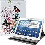 kwmobile Hülle 360° für Samsung Galaxy Tab 3 10.1 Case in Schmetterlinge Hippie Design mit Ständer - Schutzhülle Tablet Tasche mit Standfunktion in Mehrfarbig Pink Weiß