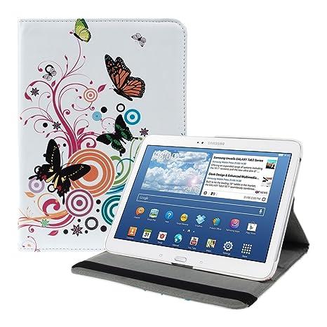 kwmobile Funda compatible con Samsung Galaxy Tab 3 10.1 P5200/P5210 - Carcasa de cuero sintético para tablet en multicolor / rosa fucsia / blanco