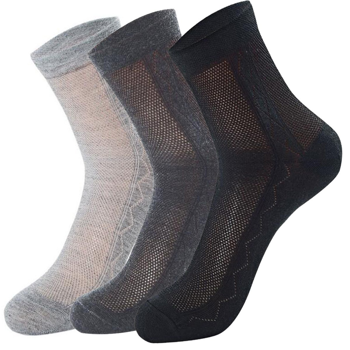 Ultra Thin Summer Cotton Socks for Men Breathable Diabetic Dress Socks Ankle Length 3 Mix Pairs in Pack