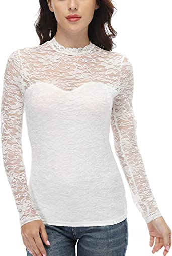 Women/'s See-through Sheer Mesh Blouse Ladies Long Sleeve Floral Lace Tops Shirts