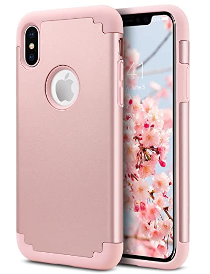 the best attitude 0b7aa ebb65 ULAK iPhone X Case for Girls, iPhone Xs Case, Slim Hybrid Protective Soft  Rubber & Silicone Hard PC Back Cover Dual Layer Shock Absorption Cover for  ...