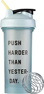 BlenderBottle Motivational Quote Classic V2 Shaker Bottle Perfect for Protein Shakes and Pre Workout, 28-Ounce, Push Harder Than Yesterday