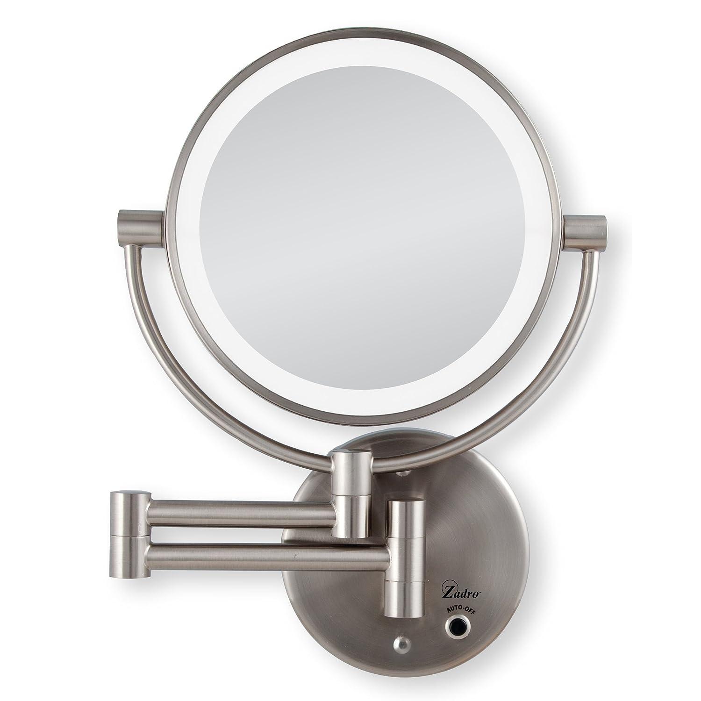Zadro 8.75-Inch 5x Magnification Next Generation Led Cordless Round Double Sided Satin Nickel Mirror LEDMW45