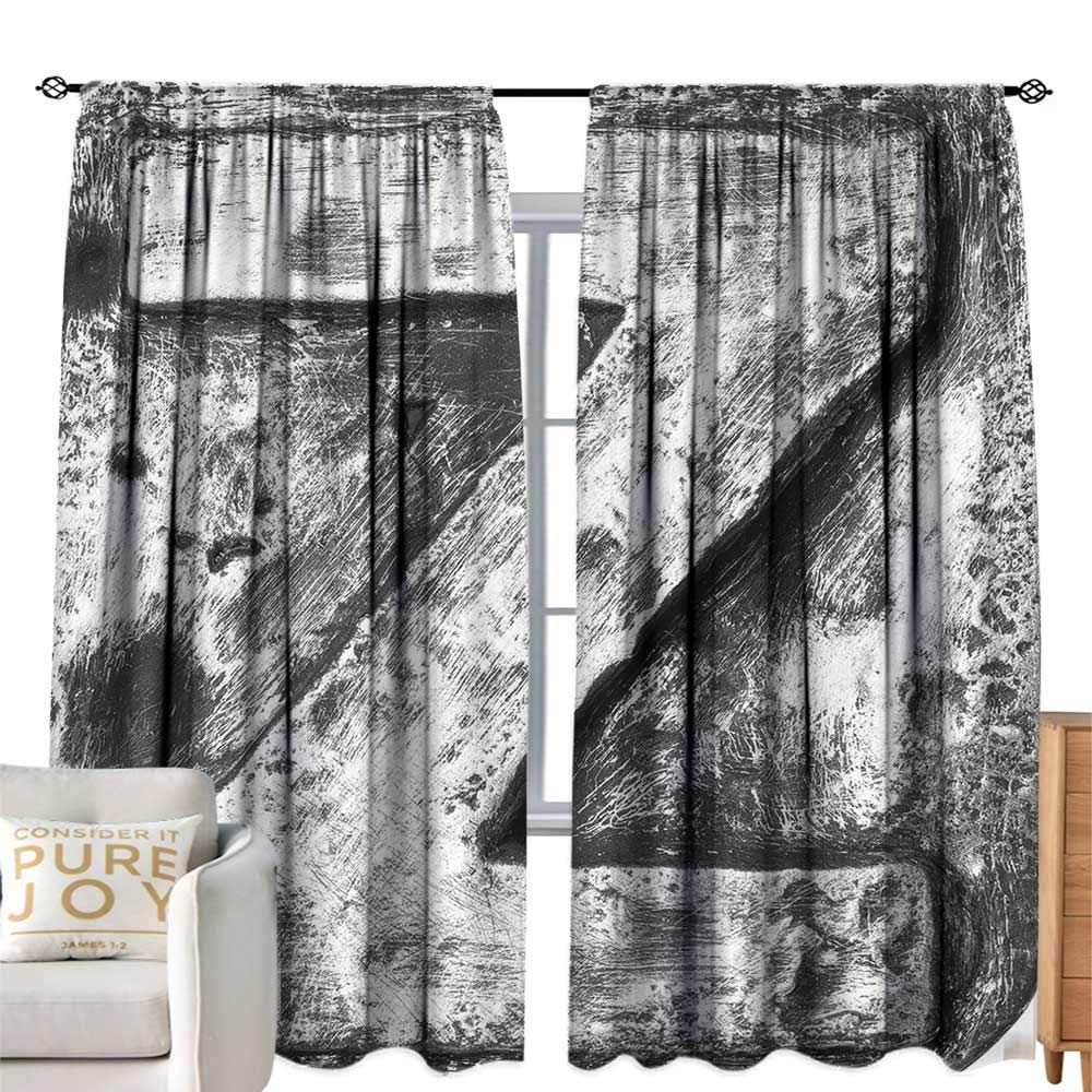 Extra Long Curtain Letter Z Capital Z Letter Name Identity Initials VIP Rusty Tone Effects Aged Look Print Black Grey Simple Style W120 xL96