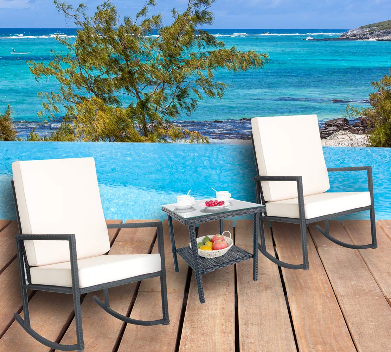 LEAPTIME Patio Chair Furniture Rattan 3PCs Wicker Outdoor Indoor Garden Furniture Set Backyard Seat Cushioned Black Wicker