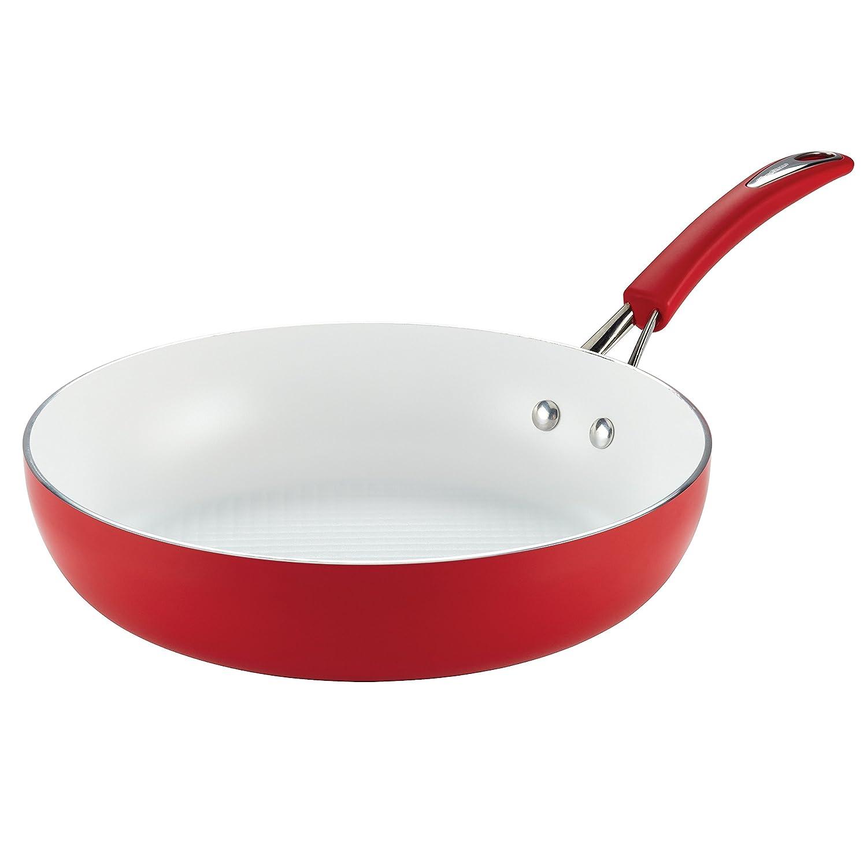 SilverStone 16067 Ceramic CXi Deep Skillet, 12-Inch, Chili Red