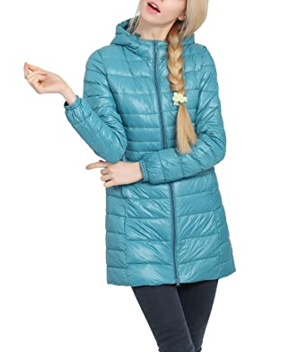024e240bb68b Winter Coat for Women - Packable Ultra Lightweight Zip-up Hooded Long  Puffer Down Jacket