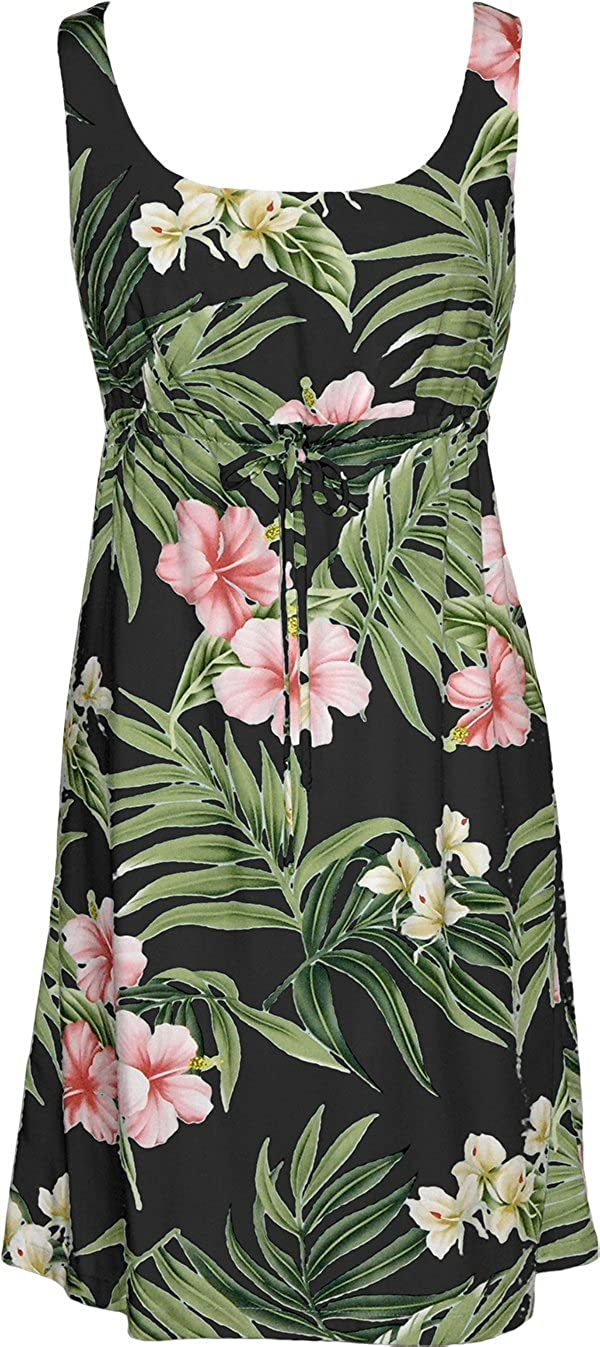 RJC Womens Pale Hibiscus Orchid Empire Tie Front Short Tank Dress in Black 2X Plus