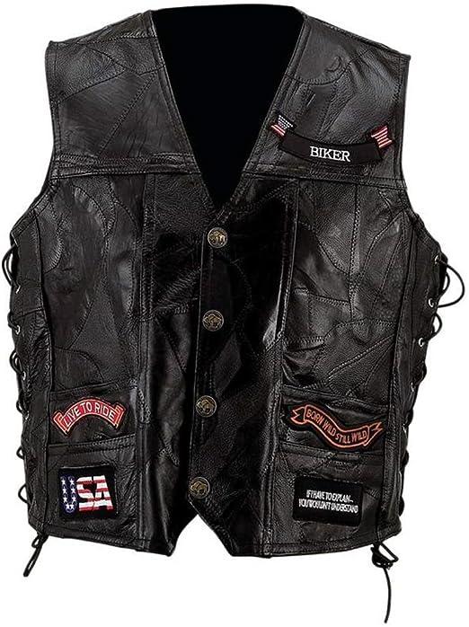 noir 4XL cuir Veste Gilet Homme Biker
