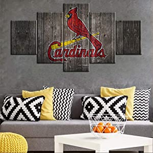 Vintage Wooden Look Painting on Canvas St. Louis Cardinals Logo Picture for Living Room Major League Baseball Prints Poster 5 Panel Home Decor Framed Gallery-Wrapped Ready to Hang(60Wx32H inches)