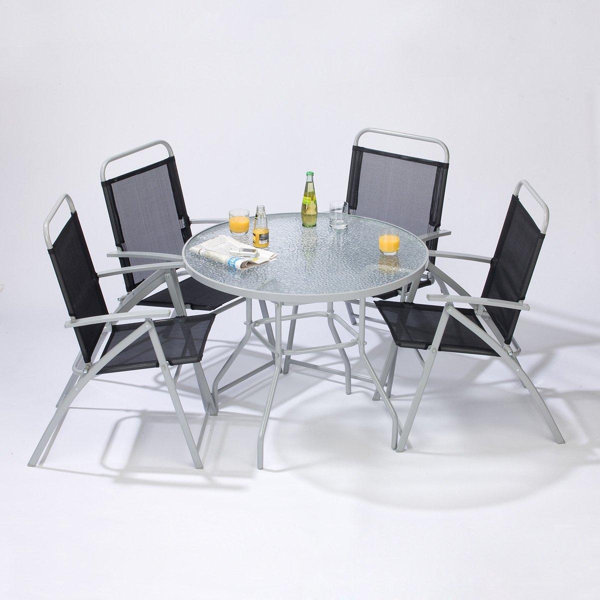 Amazon.de: Gartenmöbel Set Glastisch + 4 Klappstühle mit Armlehne